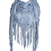 Light Blue Laser Cut Fringed Cape