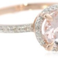 10k Rose Gold Morganite and Diamond Round Shaped Ring (0.05 cttw GH, Color, I1-I2 Clarity)