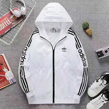 Adidas Fashion New Letter Print Men Hooded Long Sleeve Top Windbreaker Coat White