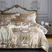 Cool Luxury Egyptian cotton Bohemia bedding set queen king size satin duvet cover sets Europe style bed linen bedclothes pillowcaseAT_93_12