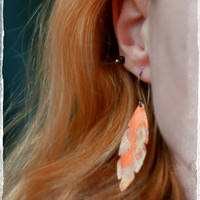 Copper feather earrings, fire oxidised, rainbow patina, hammered copper, free spirit symbol.