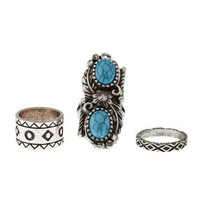 Silver Turquoise Stackable Rings - 3 Pack by Charlotte Russe