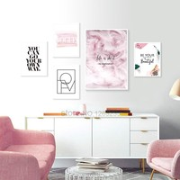 Pink Feather Nordic Poster Cuadros Decoracion Love Picture Life Wall Pictures For Living Room Wall Art Canvas Painting Unframed
