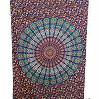 """Amitus Exports 1 X Peacock Flower 80""""X53"""" Approx. Inches Color Cotton Fabric Multi-Purpose Handmade Tapestry Hippy Indian Mandala Throws Bohemian Tapestries"""