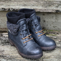 Stone Mountain Cuff Ankle Sweater Boot Black