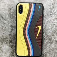 NIKE & Und Fashion New Hook Contrast Color Leather Women Men Mobile Phone Case Cover Yellow