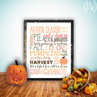 Fall subway art printable wall decor print autumn season pumpkin typography halloween art decoration holiday decor - INSTANT DOWNLOAD PDF