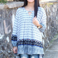 Border Print Keyhole Trapeze Tunic {L.Blue Mix}