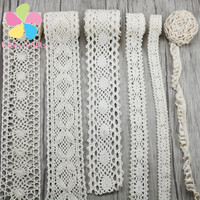 2 yards lot Apparel Sewing Fabric DIY Ivory Cream Trim Cotton Crocheted Lace Fabric Ribbon Handmade Accessories 050021158