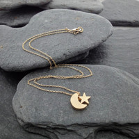 Dainty Necklace, Gold Moon and Star Charms, Delicate Fine Chain,16K Gold Plated