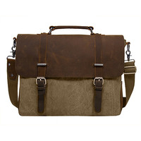 Canvas and Leather Messenger Bags-Fits 15''