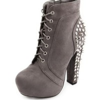 Gray Stud Back Sueded Lace-Up Bootie by Charlotte Russe