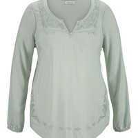 Plus Size - Embroidered Peasant Top