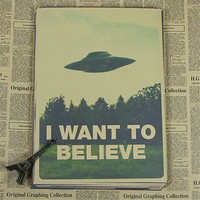 """retro kraft vintage paper """"X FILES I WANT TO BELIEVE """" wall stickers home decor living room poster sticker wall art HX-050"""