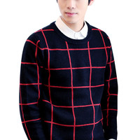 Grid Knit Long Sleeve Pullover Sweater
