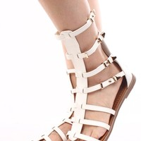 WHITE FAUX LEATHER STRAPPY GLADIATOR SANDALS