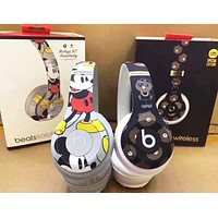 Beats Solo 3 Wireless Mickey Mouse Magic Sound Bluetooth Wireless Hands Headset MP3 Music Headphone with Microphone Line-in Socket TF Card Slot