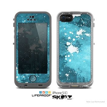 The Abstract Bleu Paint Splatter Skin for the Apple iPhone 5c LifeProof Case
