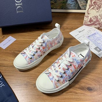 Dior 2021 NEW ARRIVALS Men's And Women's Oblique Canvas Fashion Low Top Sneakers Shoes