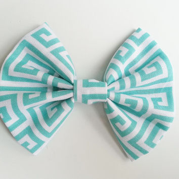 Teal Hairbow, Large Hairbow, Aquamarine Hairbow, Chignon Hairbow, Geometric Hairbow Hairbow great for a bun, Alligator clip or barrette