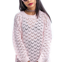 Vintage 90's Dainty Baby Pink Crocheted Pullover - One Size Fits Many