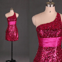 short sequins prom dresses with rhinestone /sheath one shoulder dress for party / unique homecoming gowns / cheap holiday dresses on sale
