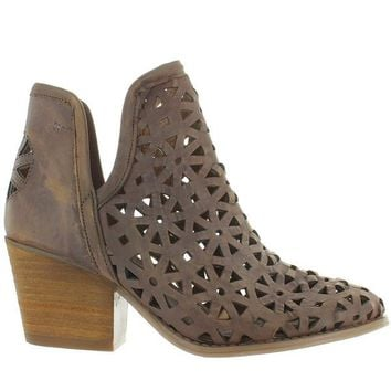 Musse & Cloud Athena - Taupe Leather Laser-Cut Western Bootie