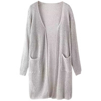 Long Sleeve Patch Pocket Knit Cardigan