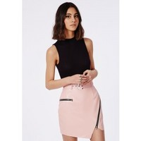Belted Faux Leather Asymmetric Mini Skirt Pink - Skirts - Missguided