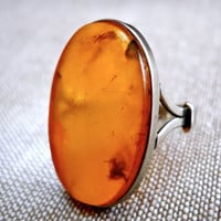 Baltic Honey Amber Sterling Ring, Natural, Oval, Vintage Sz 8.5