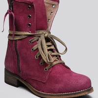 Hanna Combat Boot - Berry - Shoes | GYPSY WARRIOR