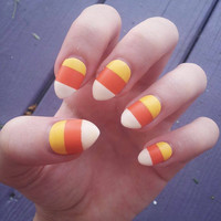 Candy corn halloween fake hand painted nails