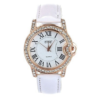 Women Lady PU Leather Band Round Dial Quartz Analog Wrist Watch = 1956662020