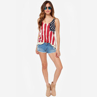 Summer Style Striped Tops American Flags Stars and Stripes Patterns Tank Tops July Fourth Clothing Sleeveless Chiffon Shirts