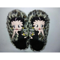 New Winter Home Slippers Plush Half Pack Home Shoes Women Lepoard Point Pantoufle Femme Betty Boop Zapatillas Casa