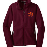 Monogrammed Maroon Fleece Jacket