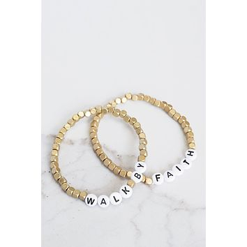 Walk By Faith Beaded Bracelets Set in Gold Tone