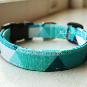 Handmade Dog/Cat Collar - Geometric Blue Turquoise - Made to Order Adjustable Fabric Dog Collar Dog Accessory Pet Accessories Breakaway Cat