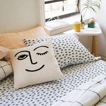Winky Embroidered Cushion - Urban Outfitters