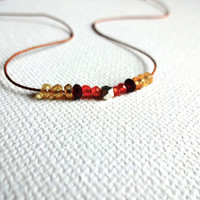 Handmade Micro Yellow Citrine, Red Garnet, Carnelian & 925 Sterling Silver Karen Hill Tribe Bead Necklace; Natural Stone Layering Jewelry