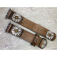 Leather Apple Watch Band White Flowers