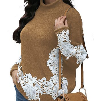 New hot sale fashion lace outer wear all-match pullover