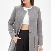FOREVER 21 Collarless Shift Coat Heather Grey