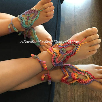 Girl Barefoot Sandals Shoes GIRL'S Crochet Beach Barefoot Sandal Ankle Foot Jewelry Sandals FOOTWEAR Birthday Gift for Kids Sized 2 Pieces