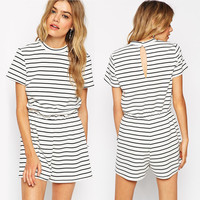 Black and White Striped Romper with Back Hole
