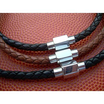 Mens Braided Leather Necklace with Hexagon Stainless Steel Magnetic Clasp, Leather Necklace, Mens Necklace, Mens Jewelry, Mens Gift,