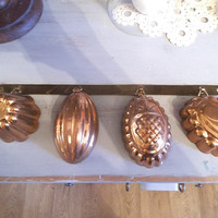 Vintage Miniature Hanging Copper molds ~ Copper Tins ~ Urban Farm House ~ wallhanging
