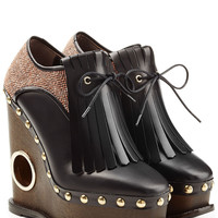Platform Clogs with Tweed, Leather and Tassels - Paloma Barcelo | WOMEN | KW STYLEBOP.com