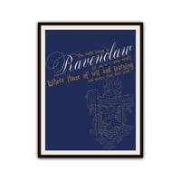 Ravenclaw Harry Potter Sorting Hat Typography Poster Print
