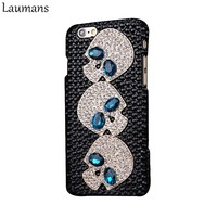 Diamond Skull Case For iPhone for iphone 5s 5C SE 6 6s 7 8 plus Bling Rhinestone With Blue Eye Cover Case
